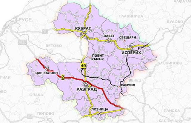 Карта на Разградска област